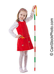 Girl measuring height isolated on white