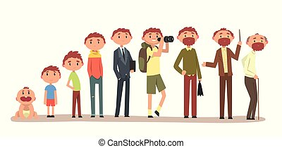 Growing up of a man from infant to grandfather, cycle of life vector Illustration on a white background