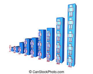 Growing user base - Growing User base chart. Detailed 3D ...