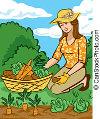 Growing Vegetables in a Home Garden - Vector illustration of...