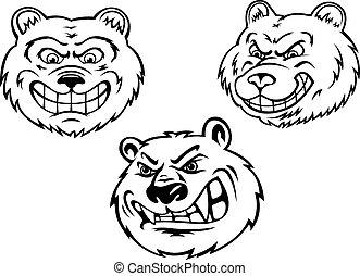 Growling bear heads in cartoon style