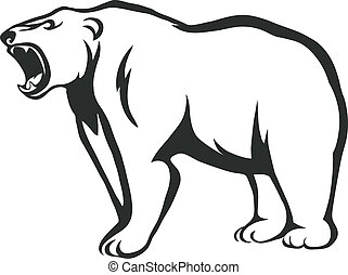 growling bear - vector silhouette of an angry bear