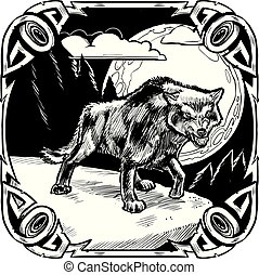Growling Wolf with Moon and Ornate Frame Vector Illustration