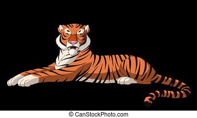 growls, grand, tigre, mensonges, mat, alpha