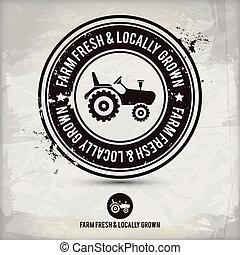grown, &, boerderij, locally, postzegel, fris