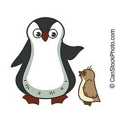 Grown parent penguine scolds little baby for misbehavior -...