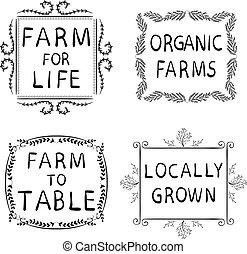 grown., table, éléments, hand-drawn, isolé, locally, agriculture, organique, typographique, frames., noir, vie, icônes, white., ferme, fermes