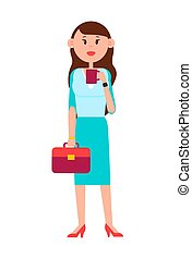 Grown-up Girl with Briefcase and Cup of Coffee - Grown-up...