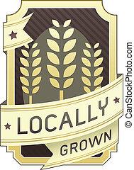 grown, voedingsmiddelen, locally, etiket