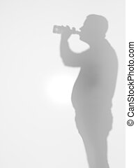 grownup man drinking beer, side view, silhouette
