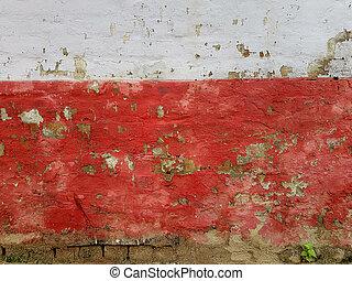 grows., 植物, 古い, 底, 壁, 抽象的, 色, 手ざわり, うれしい, 破壊された, 明るい, ストライプ, 緑の背景, 小さい, グランジ, 白いトップ, 赤