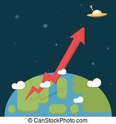 growth., ビジネス, 矢, 行きなさい, 世界, 赤, から