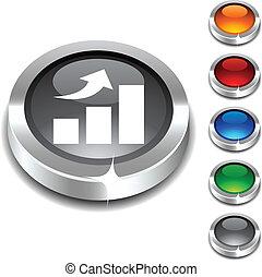 growth 3d button set. Vector illustration.