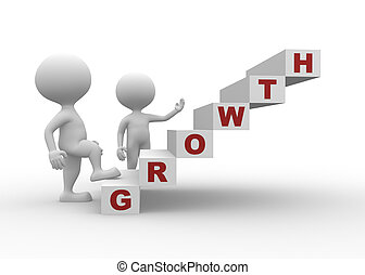 Growth - 3d people - man, person with stair and word GROWTH