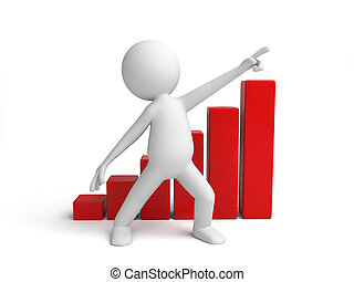 growth - 3d small person with a chart. 3d image. Isolated...