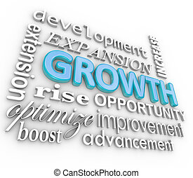 Growth 3d Word Background Collage Growing Rising Increase -...