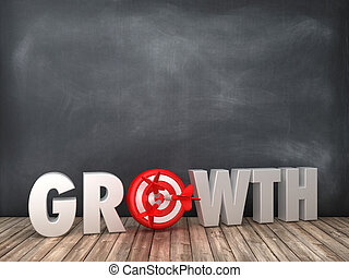 GROWTH 3D Word with Target on Chalkboard Background
