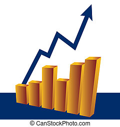 Growth - A blue arrow shows business growth over gold bars ...