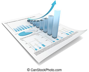 Growth. - Abstract financial document with 3d graph of...