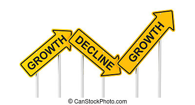 Growth and decline road signs, 3d render