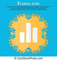 Growth and development concept. graph of Rate . Floral flat design on a blue abstract background with place for your text. Vector