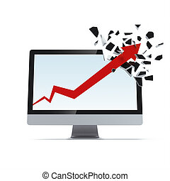 Growth arrow breaks display - Growth red arrow breaks...