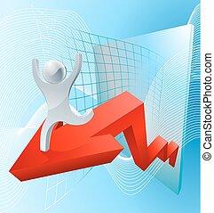 Growth arrow graph concept