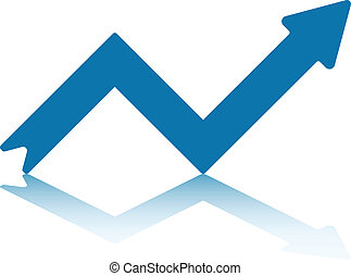 Growth Right Pointing Arrow Reflecting off Bottom Plane (jpeg file has clipping path)
