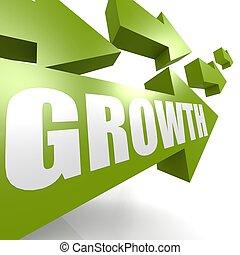 Growth arrow in green - Hi-res original rendered computer...