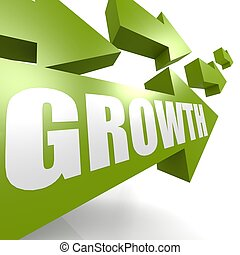 Growth arrow in green - Hi-res original rendered computer...
