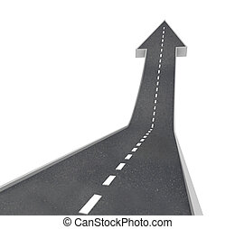 Growth - Arrow Road Rising Upward - A road turning into an ...