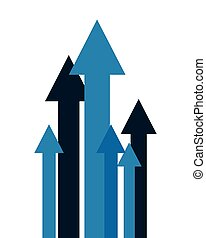 growth arrows on white background