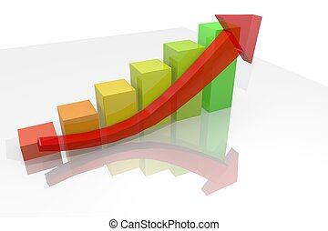 growth bar chart with arrow