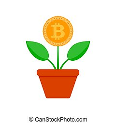 Growth bit coin. Crypto potted plant vector