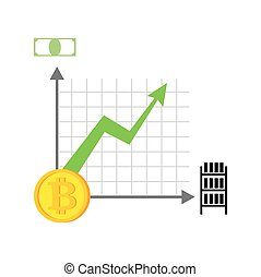 Growth bitcoin graph. Growth of  Cryptocurrency. Virtual money. Vector illustration