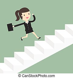 Business Woman Running Up Stairs.