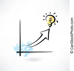 growth chart and light bulb grunge icon