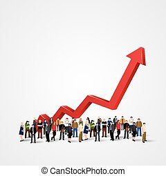 Growth chart and progress in people crowd. Vector...