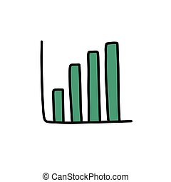 growth chart doodle icon, vector color illustration