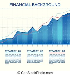 Growth chart economy concept. Statistics business graph vector financial markets background