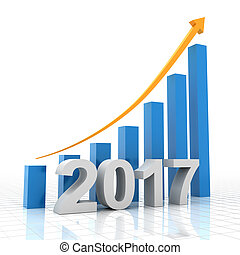 Growth chart for 2017, 3d render