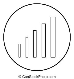 Growth chart icon black color in circle round