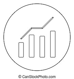 Growth chart icon black color in circle