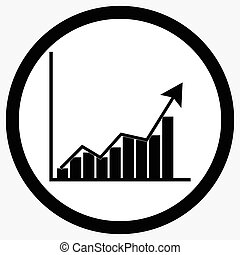 Growth chart icon black white