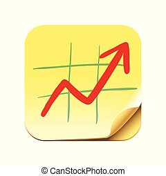 Growth chart icon, diagram with red arrow going up, success business symbol, vector illustration.