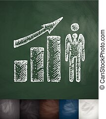 growth chart icon. Hand drawn vector illustration