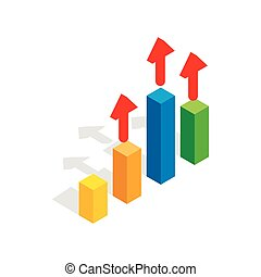 Growth chart icon, isometric 3d style