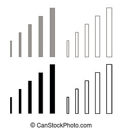 Growth chart icon set grey black color