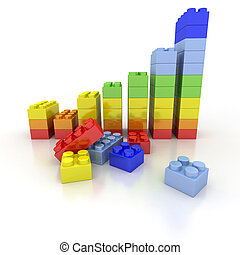Growth chart in colorful plastic bricks