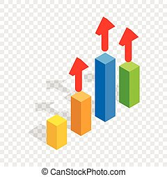 Growth chart isometric icon 3d on a transparent background...